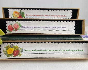 Bookmark - vintage linen, floral bookmark with quote, pretty bookmark, gift for book lover, gift for mum,
