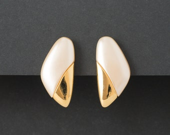 Vintage Napier Pearl and Gold Earrings