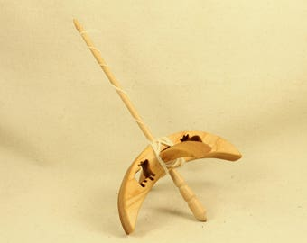 Pig Turkish Drop Spindle 5 inch arms 8 inches tall