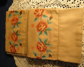 Vintage New Gold Color Hand Painted Floral Pillowcases