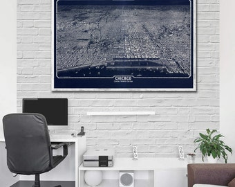 "1916 Chicago panorama, Vintage Chicago map home reprint ,  4 very large sizes up to 54"" x36"" and 3 color choices"