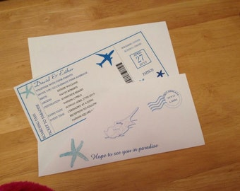 Boarding pass wedding invitation sample