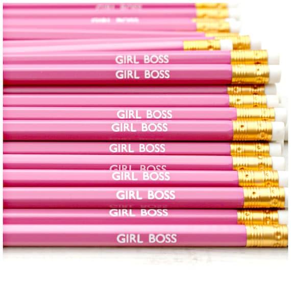 Girl Boss Pencil. Boss Babe. Hustle. Slay. Pink. Stationery. Stocking Filler. Secret Santa.