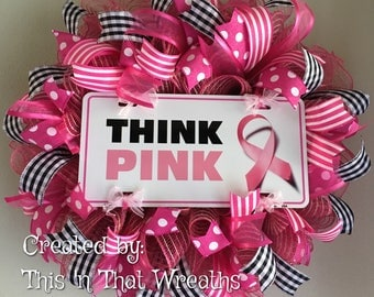 Breast Cancer Awareness Think Pink Mesh Wreath