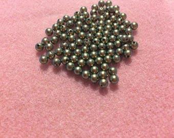 DESTASH 100 EA 4MM Iridescent Green Swarovski Pearls