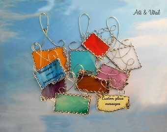 Custom glass message, suncatcher with text, quotation at your choice to offer a unique gift according to your choice, Free Shipping CAD-USA