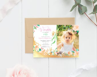 Fairy Birthday Invitation, PRINTABLE, Girl's printable personalised birthday, magical enchanted garden invite, floral gold pink invite