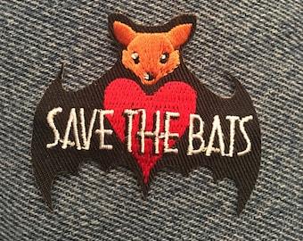Save the Bats patch (1) - halloween conservation fun scout kjallraven Hershel