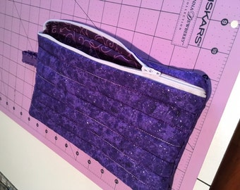Hand made purple sparkly large zippered cosmetic/kindle/diaper/anything bag