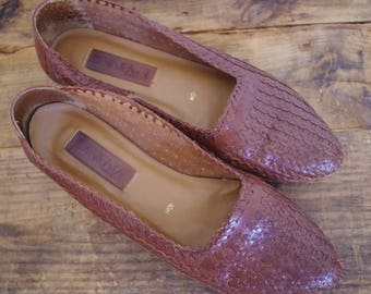Vintage Woven Leather Flats, Brown Leather Vintage Loafers, Braided Leather, Made in Brazil, Size 10