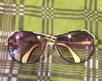 Vintage Cazal Gold Black White Eyeglasses Frames