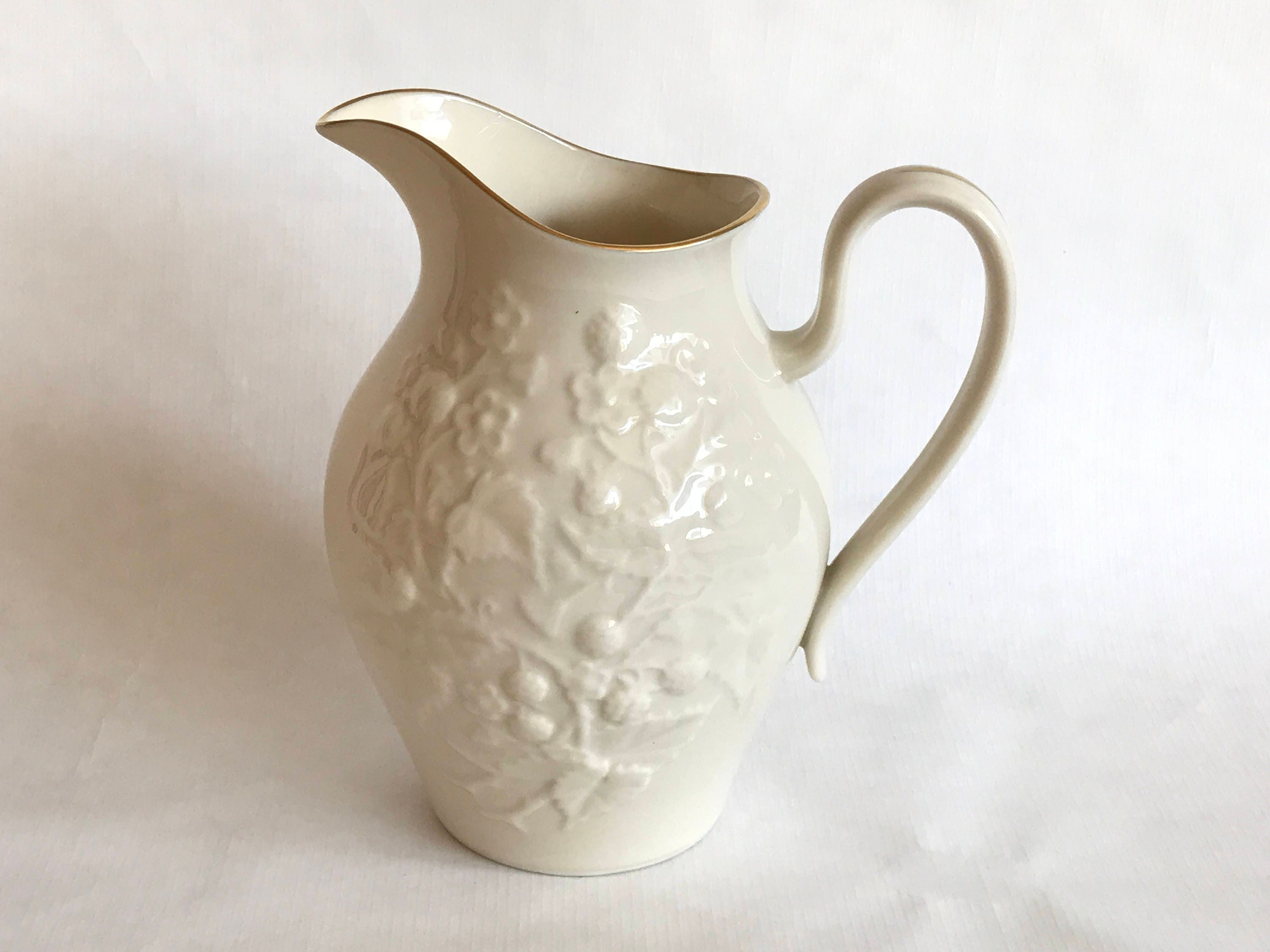 Lenox china pitcher ivory with gold trim lenox embossed berries lenox china pitcher ivory with gold trim lenox embossed berries and vines made in usa gold mark gift for her lenox china vase floridaeventfo Choice Image