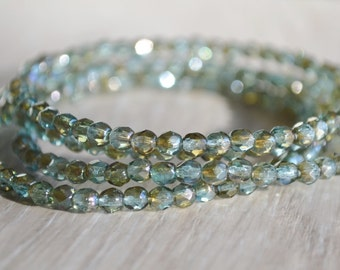 50 Lt Aqua Bronze Luster Beads- 4mm Czech Firepolished Faceted Round- Morning Mist (347-50)