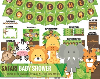 Safari Baby Shower Decorations Package - Printable Jungle Theme Baby Shower Decor - Cute Funny Gender Neutral Shower - Digital Download