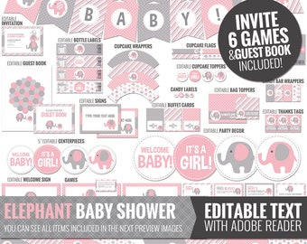 Pink Elephant Baby Shower Decorations - Printable Pink and Gray Baby Shower Package - Cute Baby Girl Shower Decor. Editable Digital Download