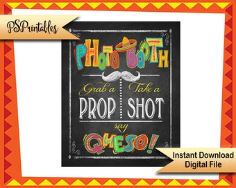 Fiesta Photo Booth Printable Sign, Cinco de Mayo Decorations, Fiesta Wedding PHOTO BOOTH sign, Birthday Fiesta sign, Fiesta Graduation Sign