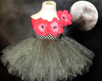 Full Figure Gunmetal Embellished Tutu  Dress