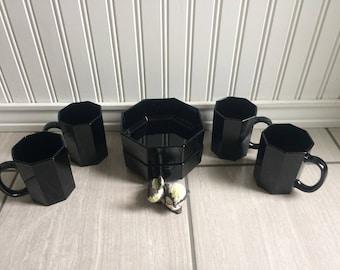 Arcoroc, Black Dinnerware, Octagon, Mug Set, Bowls, Modern Dinnerware, Vintage Black Dishes, Vintage Dinnerware, Black Decor