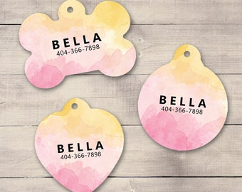 Sunset Watercolors Pet ID Tag, Custom Pet Tag, Personalized Dog Tag, Dog ID Tag, Puppy Tag, Dog ID, Pet Tag, Cat Tag (0006)