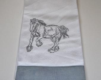 Embroidered Horse Tea Towel. Dish Towel, Kitchen Towel