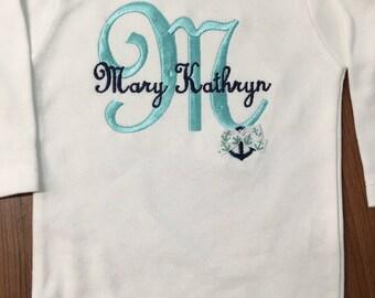 Baby Girl or Baby Boy Monogramed Bodysuit Anchor Bodysuit Personalized Nautical Bodysuit 0-18 months