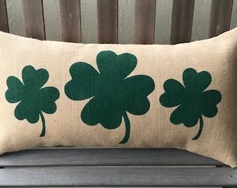 Four Leaf Clovers Burlap Pillow Cover - St Patrick's Day -Irish Pillow