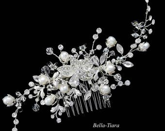 pearl bridal comb, Crystal wedding hair clip, bridal hair comb, bridal ivory pearl hair vine, crystal hair vine, bridal comb, wedding comb