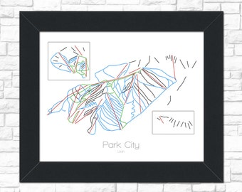 Park CIty Map Utah UT Ski Snowboard Trail Map Art --- Print, Poster, Picture --- Frame, Gift, Present --- Resort, Mountain, Snow, Winter