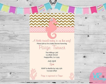 Pink and Gold Beach Baby Shower Invitation, Baby Girl, Seahorse, Digital File, DIY printing