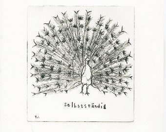 Original Etching print, hand made, Art, limitted edition, bird, nature, black and white, peacock, selbsändig - independent-white back