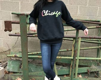Chicago Neon 1980s Vintage Sweatshirt
