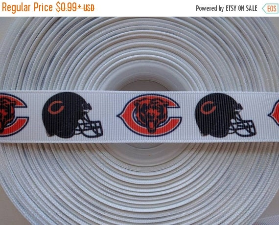 "SUPER SALE CHICAGO Bears Nfl 7/8"" 22mm Grosgrain Hair Bow Craft Ribbon 782674"