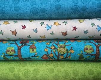 Wilmington Prints Fall Fun Owl Fabric BUNDLE ~ Fat Quarter or Half Yard