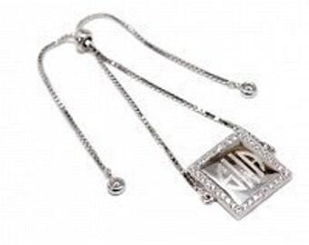 Monogrammed Sterling Silver Bracelet, Engraved Bracelet, CZ Adjustable Bracelet