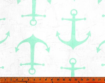 Anchors Mint Twill by Premier Prints Fabric
