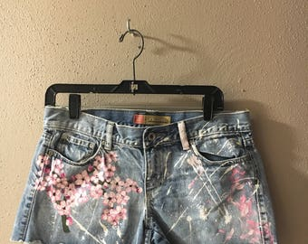 Cherry blossom hand painted shorts