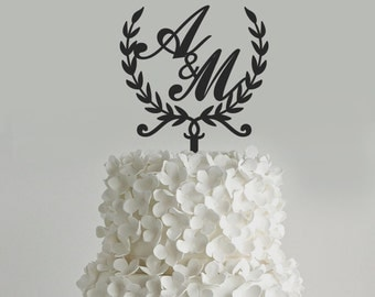 Wreath cake topper customizable with initials weddind cake topper