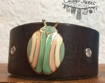 Vintage Pastel Lady Bug Pin & Rhinestone Riveted Brown Leather Cuff - Repurposed Leather Cuff - Upcycled Leather Cuff