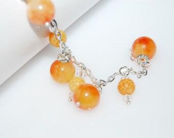 Bracelet agate gemstone bracelet Orange gems gemstone silver bracelet orange agate poison for womens