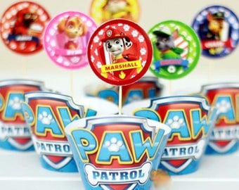 Paw Patrol Cupcake Wrappers and Toppers Sets of 12