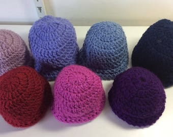 Seven hand crocheted preemie baby hats - Made in Britain by AphraAlba