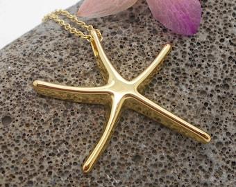 Starfish Necklace, Gold Starfish Necklace - Bridesmaid, Beach Wedding, Tropical, Beach, Starfish