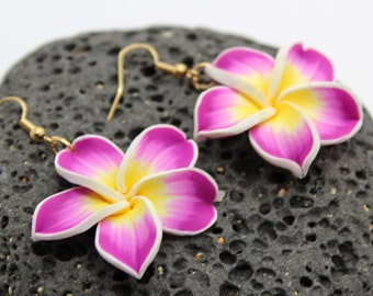 Plumeria Dangle Earrings - Fimo Clay, Flower Earrings, Beach Wedding, Beach, Vacation, Hawaii, Tropical Flower, Plumeria