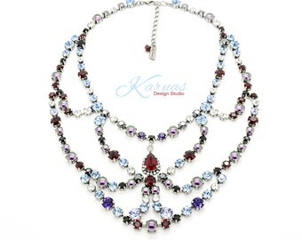 DISCO 6mm 29ss Crystal and Pearl Statement Bib Necklace Made With Swarovski Crystal *Antique Silver *Karnas Design Studio© *Free Shipping*