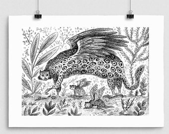 Eagle Leopard // Black and White Print, Signed Wall Art