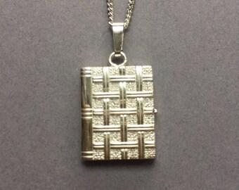 Vintage Sterling Silver Book Picture Locket Necklace Pendant