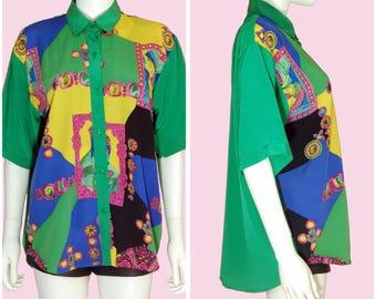 Vintage 80s Baroque Print Blouse Green Shirt Size Large-XL