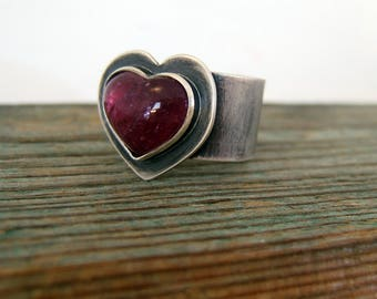 Sterling Silver Rubellite Pink Tourmaline Ring, Heart Ring