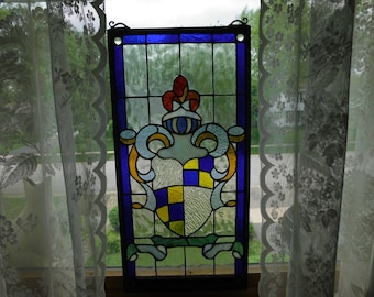 Vintage Leaded Stained Glass - Coat of Arms