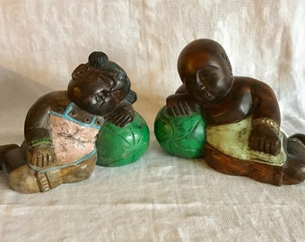 Chinese Vintage Hand Hardwood Carved Bodhisattva Boy Girl Sleeping Statues Figures Dolls